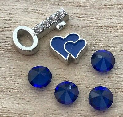 6pc Blue Heart Rhinestone Key September Floating Charms for Floating Lockets