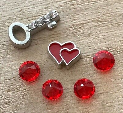 6pc Red Heart Rhinestone Key July Love Floating Charms for Floating Lockets