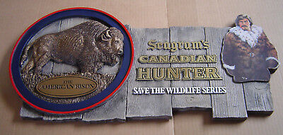 """Seagram's Canadian Hunter American Bison Save The Wildlife Series Sign 13""""x 26"""""""