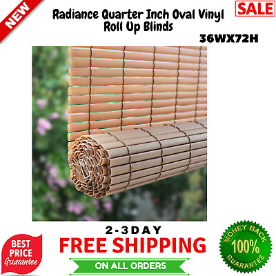 Indoor Outdoor Window Blinds Bamboo Sun Shade Quarter Inch Roll Up Patio  36Wx72H