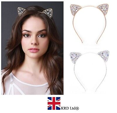 Girls Metal RHINESTONE Cat Ear Headband Hair Band Fancy Costume Party Cosplay UK
