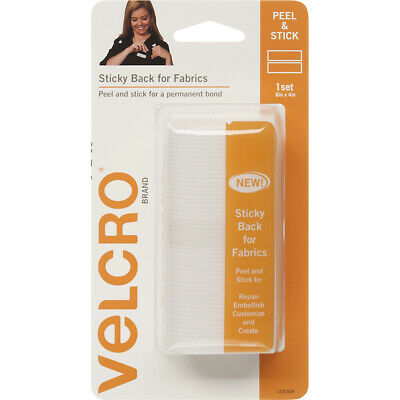 "Velcro(r) Brand Fasteners VELCRO(R) Brand STICKY BACK For Fabric Tape 4""X6""-Whit"