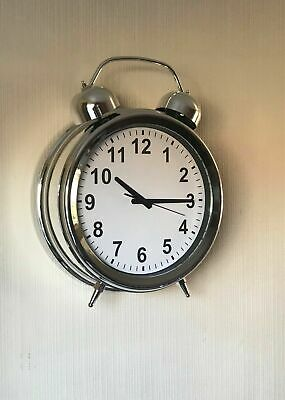 Chrome Effect Round Wall Clock Vintage Style 40cm Gift Kitchen Hall