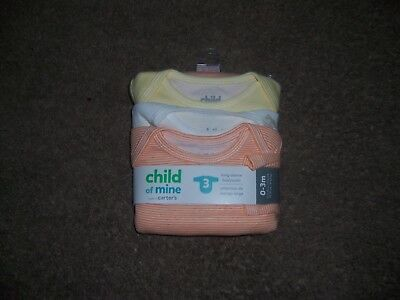 child of mine carters long sleeve  3 pack bodysuits new