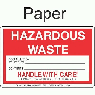 Hazardous Waste HWA-6x4 Paper Labels (ROLL OF 500)