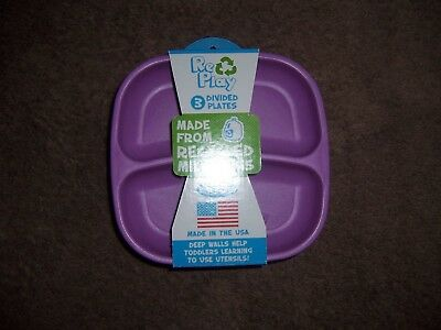 3 replay divided purple pink green  plates new