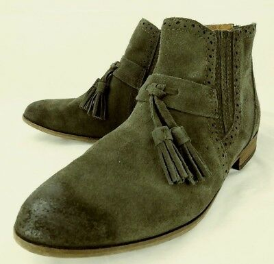 06a1a6ad74cd Dolce Vita Wos Boots Ankle US 8.5 green Suede Zip Tassle Chelsea Booties  5178