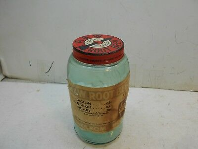 Vintage A&W root beer take home quart jar with label and lid