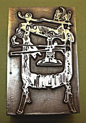 Antique Columbian Printing Press. Printing Block.