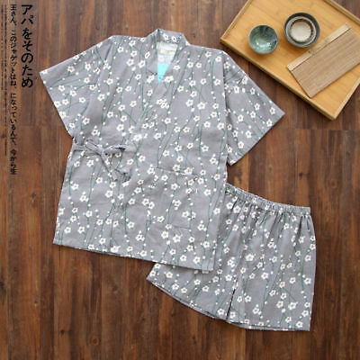 Chinese Japanese Grey Cherry Blossom Ladies Kimono Short Pyjamas Set  ladpj129 8b6ff482a