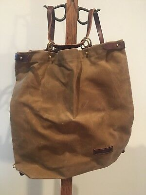Wood And Faulk Shuttle Pack Waxed Canvas And Leather EUC!