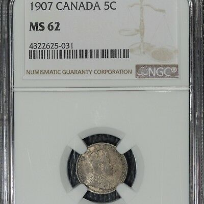 1907 Canada 5 cent, MS62 NGC