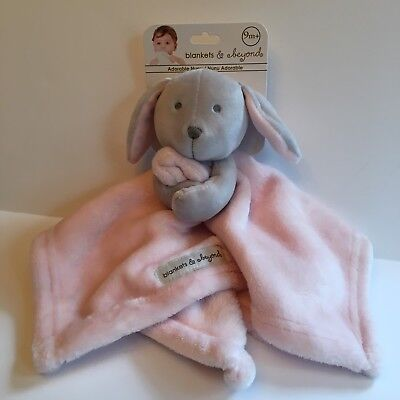 New Blankets and Beyond Soft Plush Pink Bunny Blankie/Lovey Security Blanket