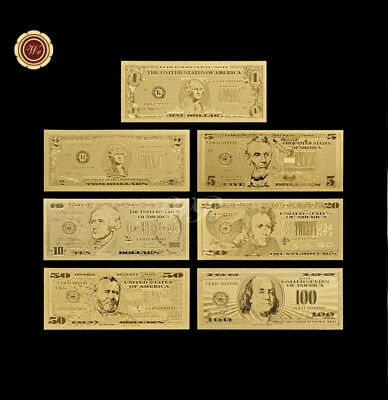 7Pc Set Gold Foil Banknote Dollar Fake Currency  Bills Bank Note Paper Money USA