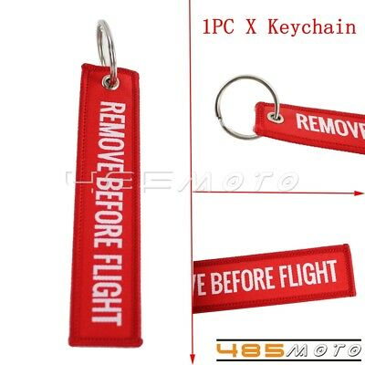 Motor Red Remove Brfore Flight Key Chain Luggage Tag Rings Embroidery Keychain