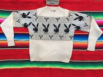 VTG PLAYBOY Martini cream wool knit crewneck sweater S playmate 60s 70s rare