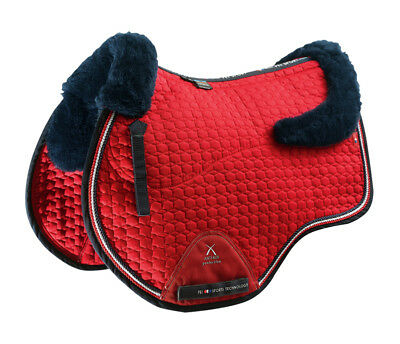 PEI Merino Wool European Saddle Pad - GP - Red with Navy Wool