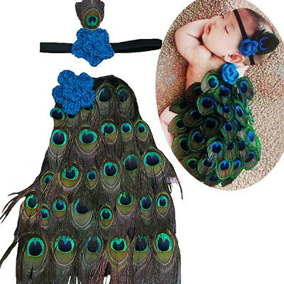 Baby Newborn Infant Peacock Headband Costume Knit Photography Prop Cloth Outfit