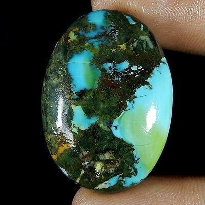 51.80Cts 100% NATURAL DESIGNER TIBET TURQUOISE OVAL CABOCHON UNTREATED GEMSTONE