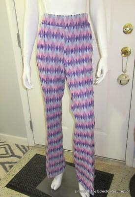 Vintage 70s High Waist Bell Bottoms Stretch Groovy Harlequin Print Large/XL