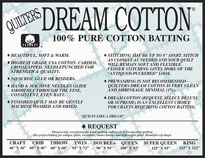 Quilters Dream Cotton Batting White Request Loft Super Queen Size Batting