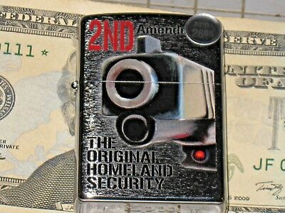 New ZIPPO USA Windproof Lighter 2nd Amendment The Original Homeland Security NRA