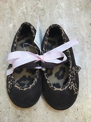74512960ce920 New Janie and Jack Brown Flats W  animal Print and bow Baby Girl Size 5