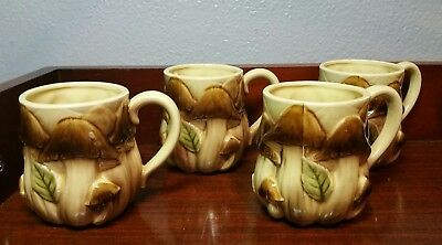Vintage Mushroom 4 Coffee Cups Mugs Set Excellent Condition!