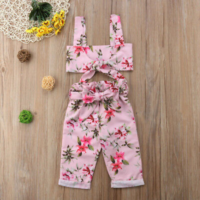 USA 2pcs Summer Kid Baby Girl Bow Floral Crop Top Vest+Bowknot Pants Outfits Set