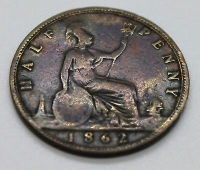 """1862 Great Britain Half Penny Coin 150 + Year Old """"Higher Grade"""""""
