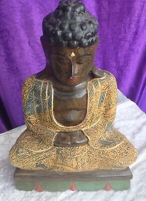 BALINESE HAND CARVED WOODEN SITTING ANTIQUE BUDDHA 40cmH COLLECTED FROM TEMPLE
