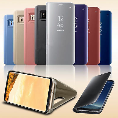 New Samsung Galaxy S9 S8 Plus S7 Smart View Mirror Leather Flip Stand Case Cover