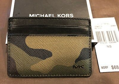best service ea25e 2a5e5 110% AUTHENTIC MICHAEL Kors Army Camouflage MENS CARD CASE Leather Trim  Tags Box