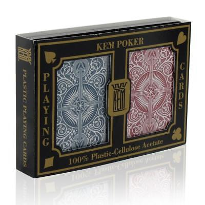 Kem Arrow Red Blue 100% Plastic Playing Cards - Poker Size Standard Index NEW