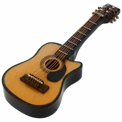 1:12 Dollhouse Miniature Music Instrument Acoustic Guitar Yellow and Brown T8E6