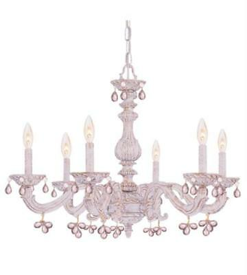 Chandeliers 6 Light With Antique White Murano Rosa Crystal Wrought Iron 28 inch