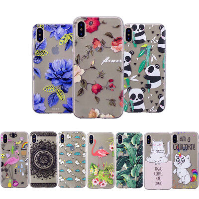 Ultra Thin Cute Patterned Clear Soft Silicone Back Case Cover For iPhone X 7 6S