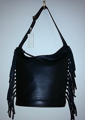 3044d6a7ce5a UGG LEA BLACK PEBBLED LEATHER HOBO with DUSTBAG- NEW w  TAG msrp  275 -   99.99