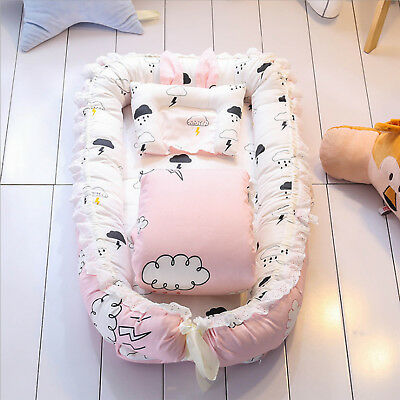 Baby Nest Bed Cot Crib Sleep Cover 6 Set  Mattress Removable 100% Cotton 90*55cm