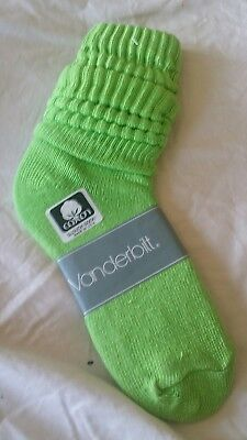 VINTAGE New Cotton SLOUCH Baggy Socks Lime Green - 1980's