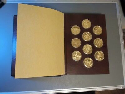 """Franklin Mint """"The Greatest Art of the American West"""" Proof  24K over Medal Set"""
