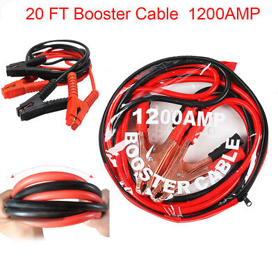 20FT Booster Jumper Cable 1200AMP Emergency Power Battery Jumper For Car Truck