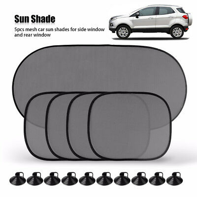 5PCS Car Rear Window Sun Shade Blind Suction Cup Fit Screen Dog Baby Protection