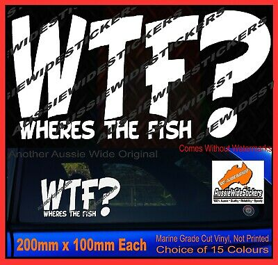 Fishing Boat or tackle box rod reel Stickers Wheres The FISH 200mm