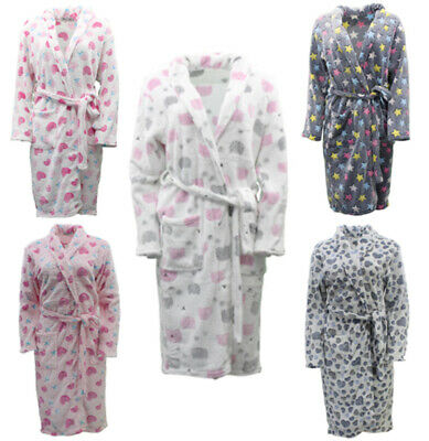 Ladies Girls Soft Fleece Bath Robe Printed Bathrobe Dressing Gown