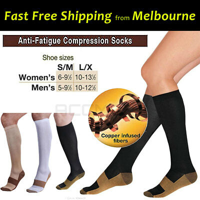 2 Prs Miracle Copper Infused Fibre Compression Socks Anti Fatigue Fathers Day