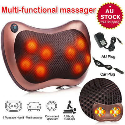 8 Drives Shiatsu Massager Body Massage Pillow Cushion Neck Knead Back Home Car