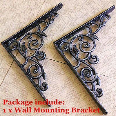 Flower Vintage Antique Wrought Iron book shelf Bracket Support Home Wall Mounted
