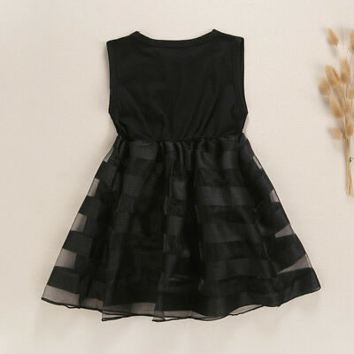 Baby Kids Girls Black Sleeveless Dress Wedding Party Travel Princess Tutu Dress