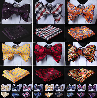 Hisdern Mens Bow Tie Paisley Plaid Woven Silk Self BowTie Handkerchief Set#G8